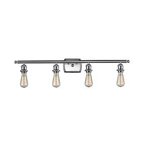 Bare Bulb Brushed Satin Nickel 36-Inch Four-Light Bath Vanity