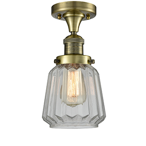 Chatham Antique Brass LED Semi Flush Mount with Clear Fluted Novelty Glass
