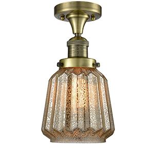 Chatham Antique Brass LED Semi Flush Mount with Mercury Fluted Novelty Glass