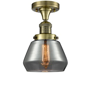 Fulton Antique Brass LED Semi Flush Mount with Smoked Sphere Glass