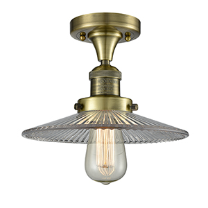 Halophane Antique Brass Eight-Inch One-Light Semi Flush Mount with Halophane Cone Glass