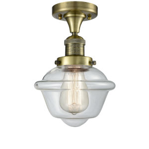 Small Oxford Antique Brass One-Light Semi Flush Mount with Clear Glass