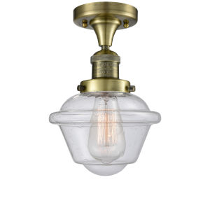 Small Oxford Antique Brass LED Semi Flush Mount