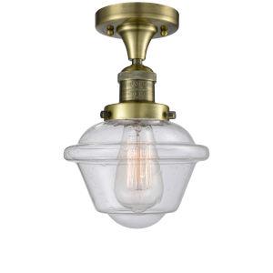 Small Oxford Antique Brass One-Light Semi Flush Mount