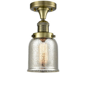 Small Bell Antique Brass One-Light Semi Flush Mount with Silver Plated Mercury Glass