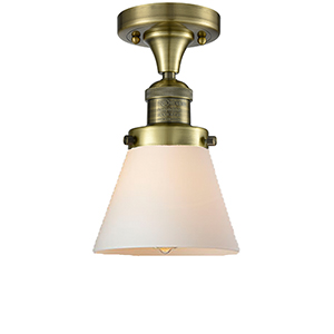 Small Cone Antique Brass One-Light Semi Flush Mount with Matte White Cased Cone Glass