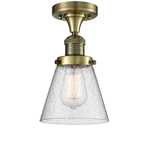 Small Cone Antique Brass One-Light Semi Flush Mount with Seedy Cone Glass