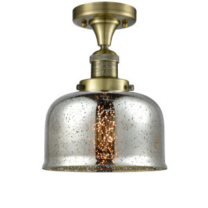 Large Bell Antique Brass One-Light Semi Flush Mount with Silver Plated Mercury Glass