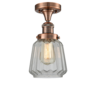 Chatham Antique Copper 14-Inch LED Semi Flush Mount with Clear Fluted Novelty Glass