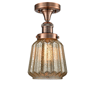 Chatham Antique Copper 14-Inch LED Semi Flush Mount with Mercury Fluted Novelty Glass