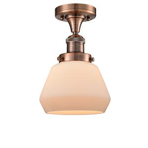 Fulton Antique Copper 11-Inch LED Semi Flush Mount with Matte White Cased Sphere Glass