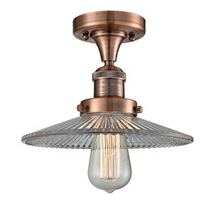 Halophane Antique Copper Eight-Inch LED Semi Flush Mount with Halophane Cone Glass