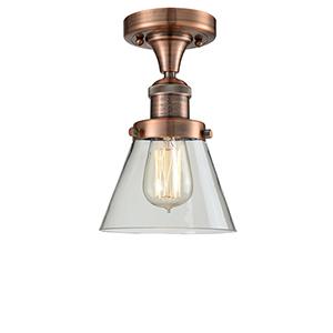 Small Cone Antique Copper Seven-Inch One-Light Semi Flush Mount with Clear Cone Glass