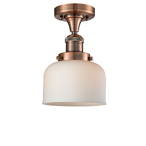 Large Bell Antique Copper 12-Inch One-Light Semi Flush Mount with Matte White Cased Dome Glass