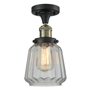 Chatham Black Antique Brass 14-Inch LED Semi Flush Mount with Clear Fluted Novelty Glass