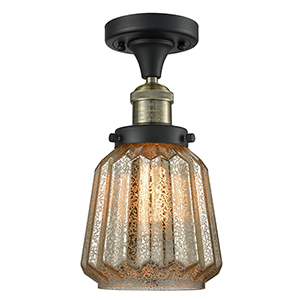 Chatham Black Antique Brass 14-Inch One-Light Semi Flush Mount with Mercury Fluted Novelty Glass