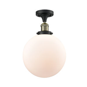 Franklin Restoration Black Antique Brass 13-Inch LED Semi-Flush Mount with Matte White Cased Beacon Shade