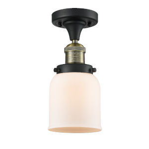 Small Bell Black Antique Brass One-Light Semi Flush Mount with Matte White Cased Glass