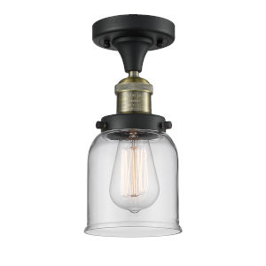 Small Bell Black Antique Brass One-Light Semi Flush Mount with Clear Glass