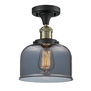 Large Bell Black Antique Brass 12-Inch One-Light Semi Flush Mount with Smoked Dome Glass