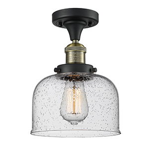 Large Bell Black Antique Brass 12-Inch LED Semi Flush Mount with Seedy Dome Glass