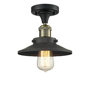 Railroad Black Antique Brass Seven-Inch One-Light Semi Flush Mount with Matte Black Metal Shade