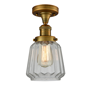 Chatham Brushed Brass 14-Inch LED Semi Flush Mount with Clear Fluted Novelty Glass