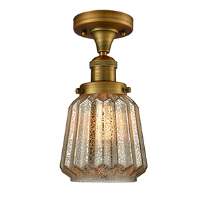 Chatham Brushed Brass 14-Inch One-Light Semi Flush Mount with Mercury Fluted Novelty Glass