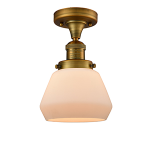 Fulton Brushed Brass 11-Inch LED Semi Flush Mount with Matte White Cased Sphere Glass
