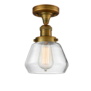 Fulton Brushed Brass 11-Inch One-Light Semi Flush Mount with Clear Sphere Glass