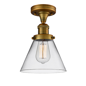 Large Cone Brushed Brass 12-Inch LED Semi Flush Mount with Clear Cone Glass