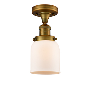 Small Bell Brushed Brass Nine-Inch One-Light Semi Flush Mount with Matte White Cased Bell Glass
