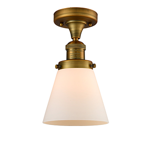 Small Cone Brushed Brass Seven-Inch LED Semi Flush Mount with Matte White Cased Cone Glass