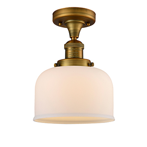 Large Bell Brushed Brass 12-Inch One-Light Semi Flush Mount with Matte White Cased Dome Glass