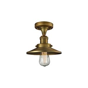 Railroad Brushed Brass Seven-Inch LED Semi Flush Mount