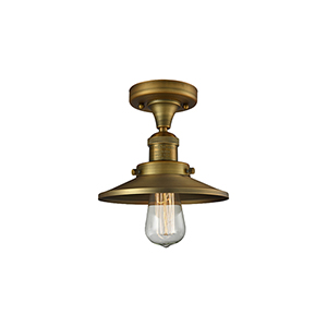 Railroad Brushed Brass Seven-Inch One-Light Semi Flush Mount