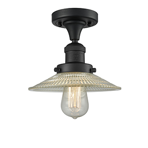 Halophane Black Eight-Inch One-Light Semi Flush Mount with Halophane Cone Glass