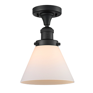Large Cone Black Eight-Inch One-Light Semi Flush Mount with Matte White Cased Cone Glass
