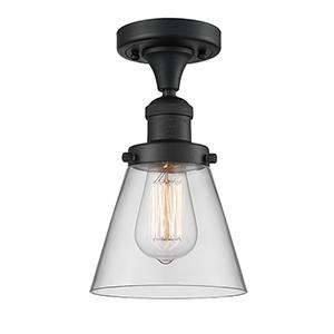 Small Cone Black Seven-Inch One-Light Semi Flush Mount with Clear Cone Glass