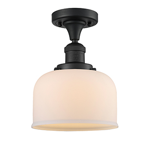 Large Bell Black Antique Brass 12-Inch One-Light Semi Flush Mount with Matte White Cased Dome Glass