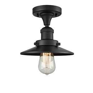 Railroad Black Seven-Inch One-Light Semi Flush Mount with Matte Black Metal Shade