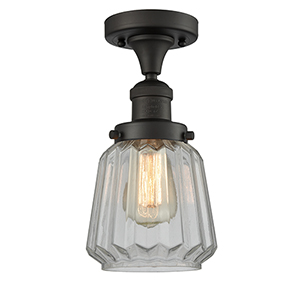 Chatham Oiled Rubbed Bronze 14-Inch One-Light Semi Flush Mount with Clear Fluted Novelty Glass