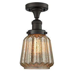 Chatham Oiled Rubbed Bronze 14-Inch One-Light Semi Flush Mount with Mercury Fluted Novelty Glass