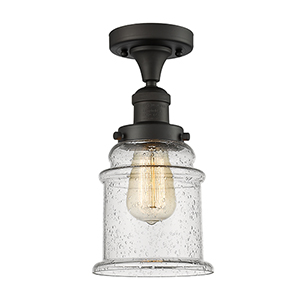 Canton Oiled Rubbed Bronze 12-Inch One-Light Semi Flush Mount with Seedy Bell Glass