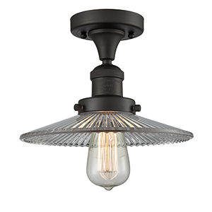 Halophane Oiled Rubbed Bronze Eight-Inch LED Semi Flush Mount with Halophane Cone Glass