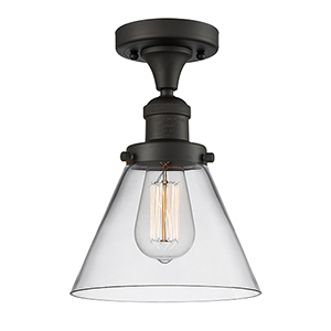 Large Cone Oiled Rubbed Bronze 12-Inch LED Semi Flush Mount with Clear Cone Glass