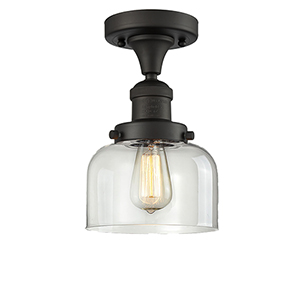 Large Bell Oiled Rubbed Bronze 12-Inch One-Light Semi Flush Mount with Clear Dome Glass