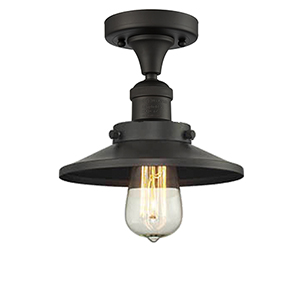 Railroad Oiled Rubbed Bronze Seven-Inch One-Light Semi Flush Mount