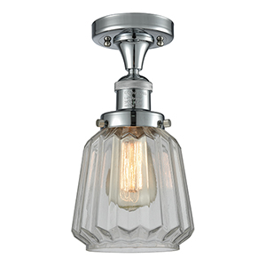 Chatham Polished Chrome 14-Inch One-Light Semi Flush Mount with Clear Fluted Novelty Glass