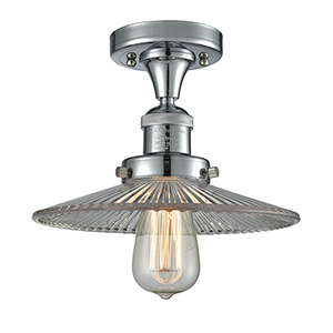 Halophane Polished Chrome Eight-Inch One-Light Semi Flush Mount with Halophane Cone Glass
